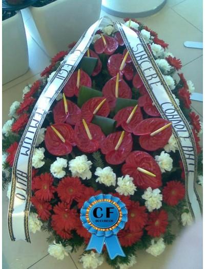 Coroana funerara Gerbera si Anthurium