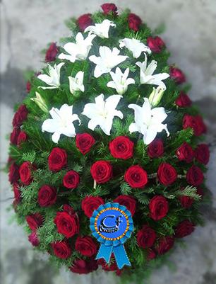 Coroana funerara Trandafiri si Crini Imperiali