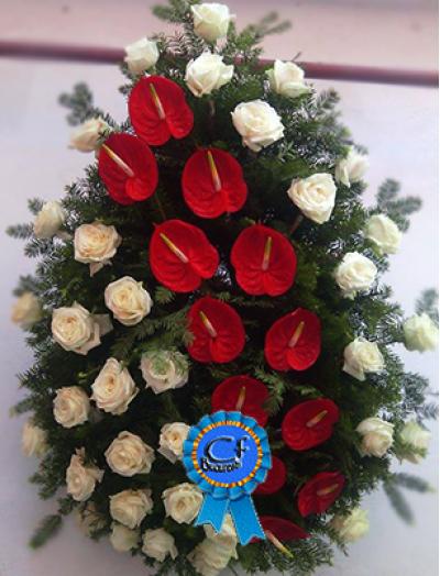 Coroana funerara Trandafiri si Anthurium