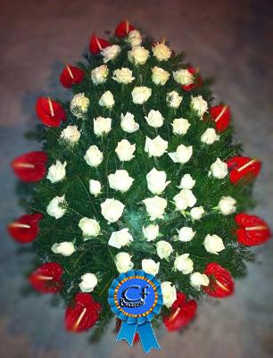 Coroana funerara Anthurium si Trandafiri