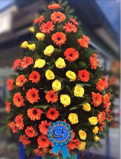 Coroana funerara Gerbera si Trandafiri